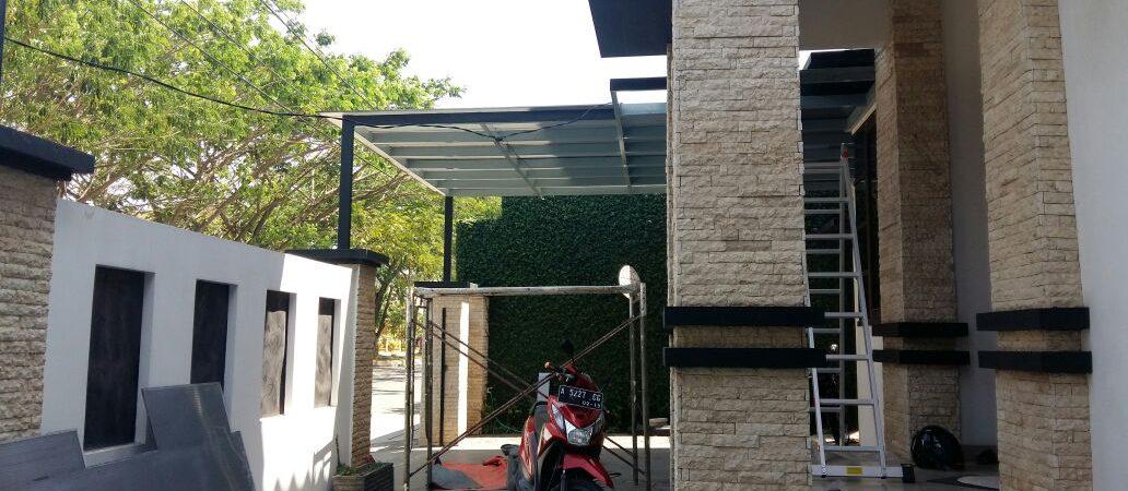 kanopi polycarbonate bengkel las konstruksi besi baja